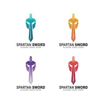 Spartan helmet and sword logo, vector template