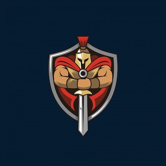 Spartan knight and shield logo