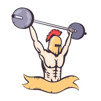 Spartan lifting barbell, gym logo element, t-shirt design, vector illustration