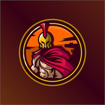 Spartan logo design illustration premium