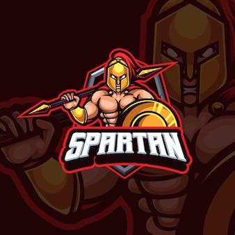 Спартанский талисман киберспорт игровой дизайн логотипа