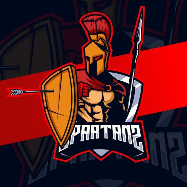 Spartan mascot esport logo design