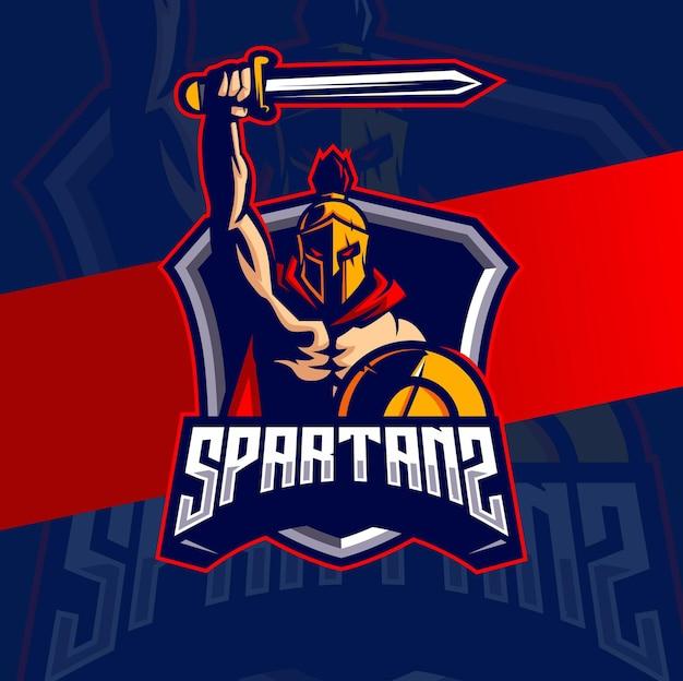 Спартанский талисман киберспорт дизайн логотипа