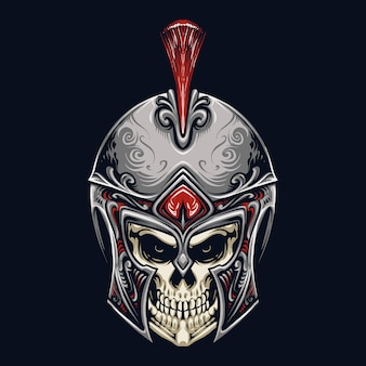 Spartan skull head illustration design