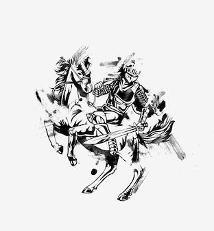 Защитная атака спартанским копьем - конный рыцарь векторная иллюстрация в силуэте.