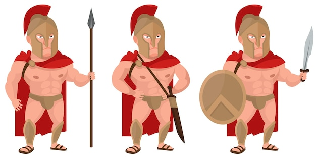 Spartan warrior in different poses. male character in cartoon style.