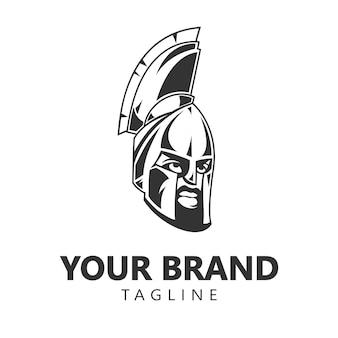 Spartan warrior helmet logo design