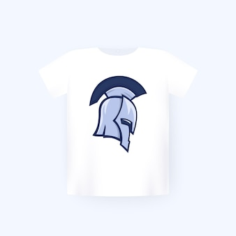 Spartan warrior helmet, t-shirt print on white mockup