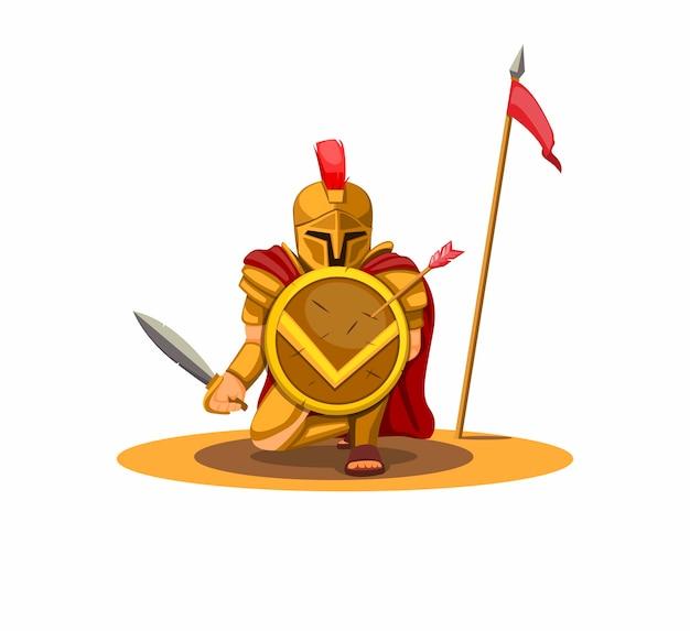 Спартанский воин держит щит и защищает концепцию персонажа позы в мультфильме