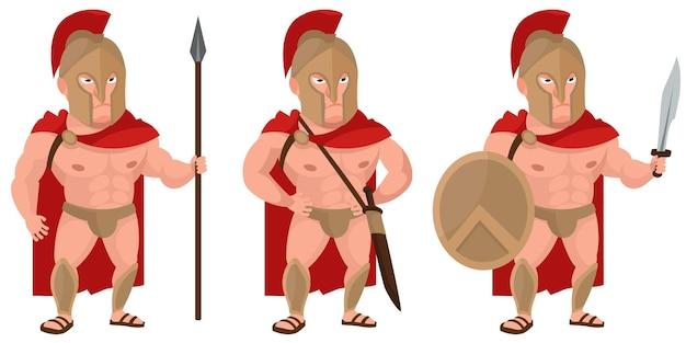 Спартанский воин в разных позах. мужской персонаж в мультяшном стиле.