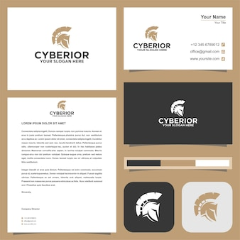 Spartan warrior logo and business card premium vector