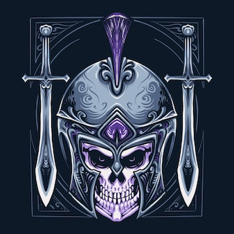 Spartan warrior skull head illustration