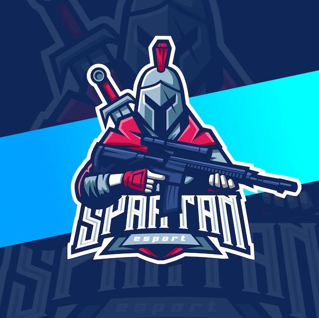 Спартанец с оружием талисман киберспорт дизайн логотипа
