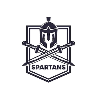 Spartans vector emblem with helmet and swords