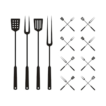 Spatula and fork for bbq grill, barbeque logo