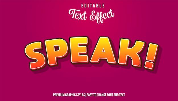 Speak cartoon style редактируемый текстовый эффект