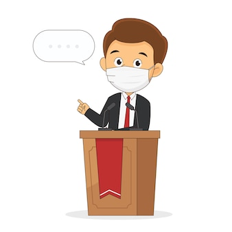 Выступает на трибуне. политик выступает с речью на трибуне