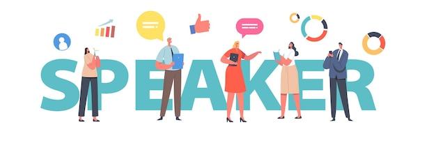 Концепция спикера. заседание совета директоров крошечных бизнесменов с лектором, представляющим финансовый семинар, обсуждение плаката стратегии компании, баннера или флаера. мультфильм люди векторные иллюстрации