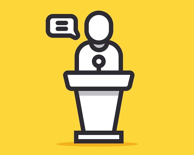 Speaker icon behind the podium. flat vector illustration