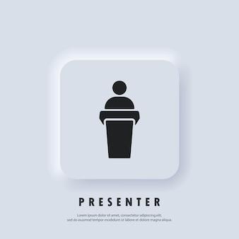 Значок динамика. выступает спикер с трибуны. обучение, значок презентации. иконки бизнес-презентации. значок учителя. вектор. белая веб-кнопка пользовательского интерфейса neumorphic ui ux. неоморфизм