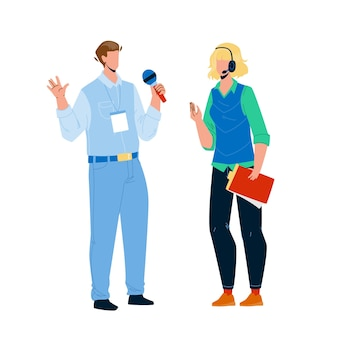 スピーカーの男性と女性は会議のベクトルで話します。ビジネス会議やお祭り、スポーツイベントやプレゼンテーションで話すスピーカーの男の子と女の子のカップル。キャラクターフラット漫画イラスト