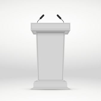 Speaker podium. white tribune rostrum stand with microphones.