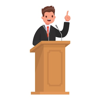 Speaker at the rostrum. the politician gives a speech at the tribune. in style