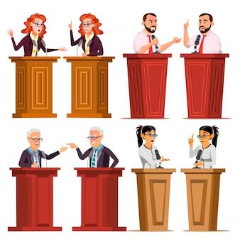 Speaker set. man, woman giving public speech.
