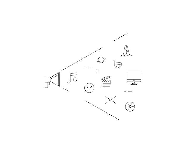 스피커 모양: 디지털 마케팅, 소셜 미디어, 네트워크, 컴퓨터 개념. 요소의 통합된 그룹에 연결된 개체가 있는 추상적인 배경. 벡터 일러스트 레이 션