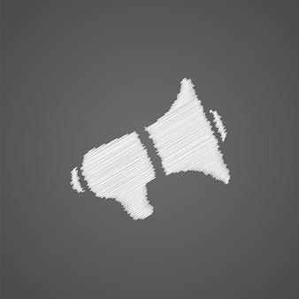 暗い背景に分離されたスピーカースケッチロゴ落書きアイコン