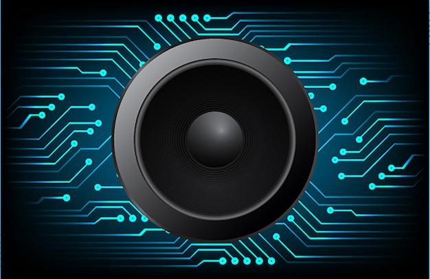 Speaker and sound waves oscillating dark blue light