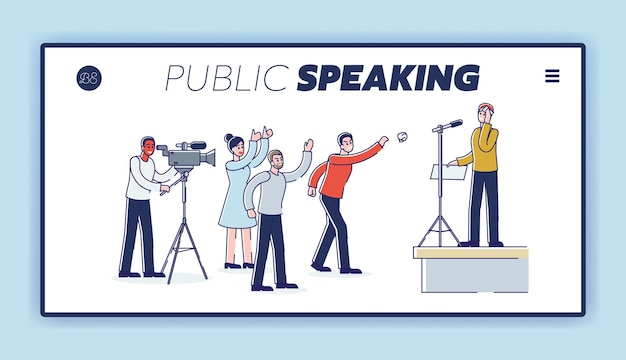 Speaking to angry public audience landing page with man presenting
