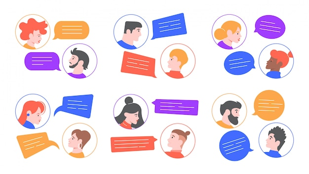 Speaking people. men and women profile avatars conversation, young couple speaking, chatting together. people communication, brainstorm speaking  illustration set. chat dialogues, speech bubbles