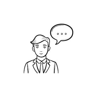 話す人の手描きのアウトライン落書きアイコン。白い背景で隔離の印刷物、ウェブ、モバイル、インフォグラフィックの公開スケッチイラストで話す男性。