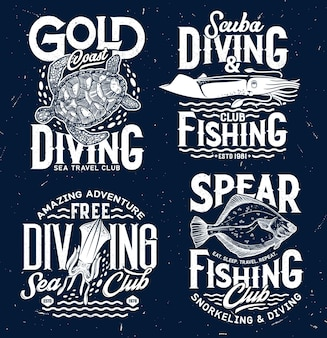 Spear fishing and scuba diving club vector prints