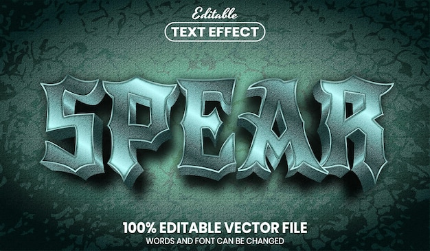 Spear text, editable text effect