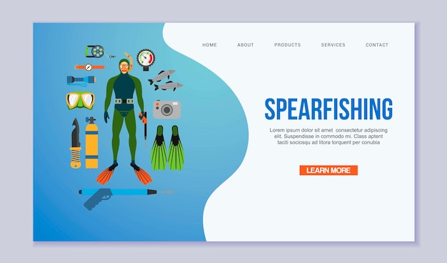스피어 낚시 및 다이빙 방문 페이지. 스쿠버 다이버는 다이빙 슈트와 지느러미, 물고기, 스피어 낚시 장비를 갖추고 있습니다. 수 중 웹 템플릿 수영.