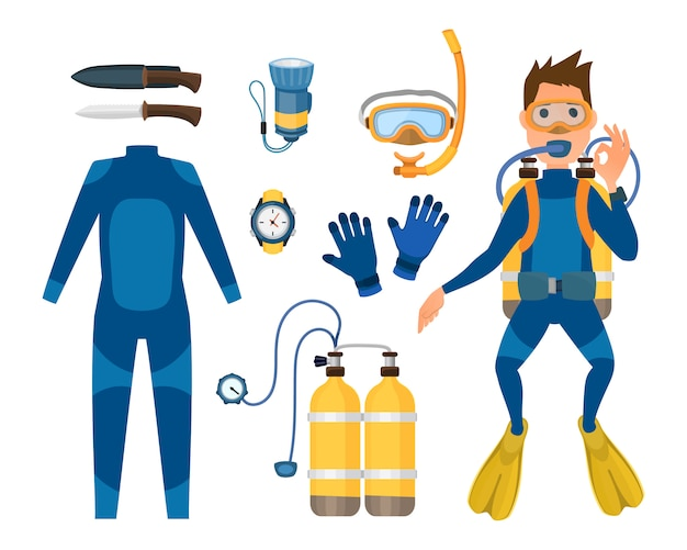 Spearfishing diving equipment set.