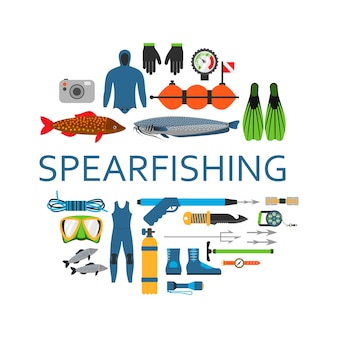 Spearfishing scuba diving underwater set of flat  vector elements. protective sea diver equipment and professional hunter spear fishing tools in circle isolated