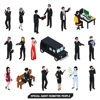 Special agent isometric people
