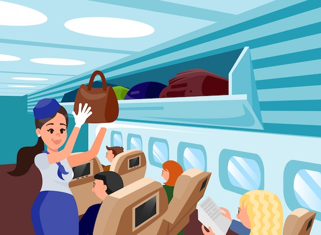 Special aircraft attendants flat illustration.