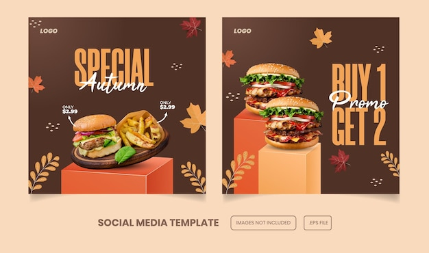 Special autumn menu and burger instagram and facebook post template