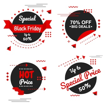Special black friday red banner set vector