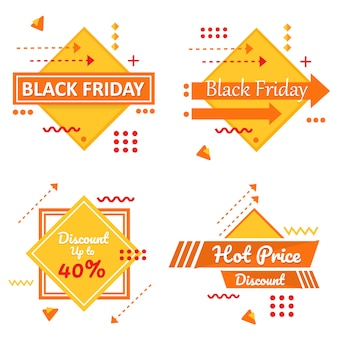 Special black friday yellow banner set vector