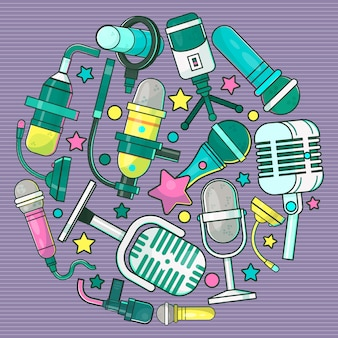 テレビの特別速報ニュースラウンドパターンイラスト。音楽祭。ライブスピーチ。音楽の録音。プレスおよびマスメディア用のワイヤレスマイク。ジャーナリズムのインタビュー。