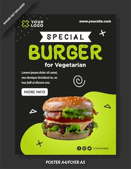 Special burger menu poster template