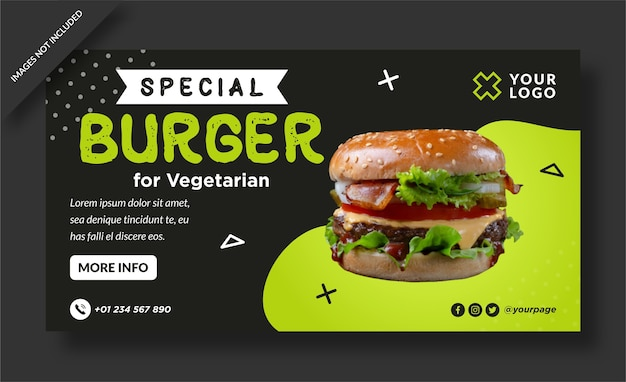 Special burger menu web banner template