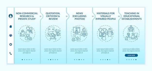 Special cases to copyright onboarding vector template. responsive mobile website with icons. web page walkthrough 5 step screens. materials for blind people color concept with linear illustrations