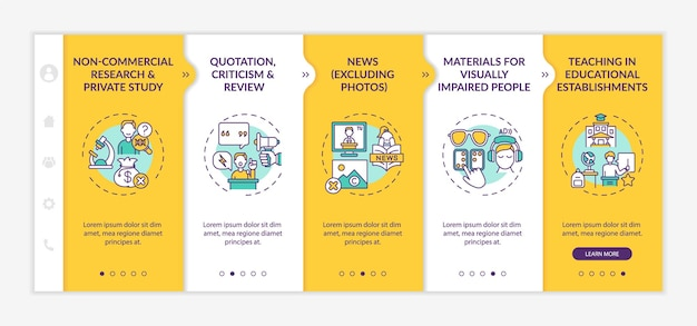 Special cases to copyright onboarding vector template. responsive mobile website with icons. web page walkthrough 5 step screens. non-commercial research, news color concept with linear illustrations