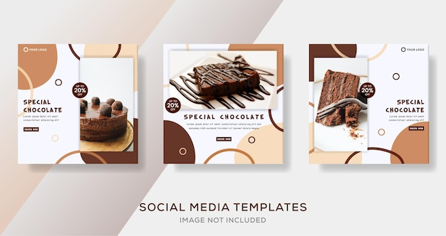 Special chocolate banner template post premium